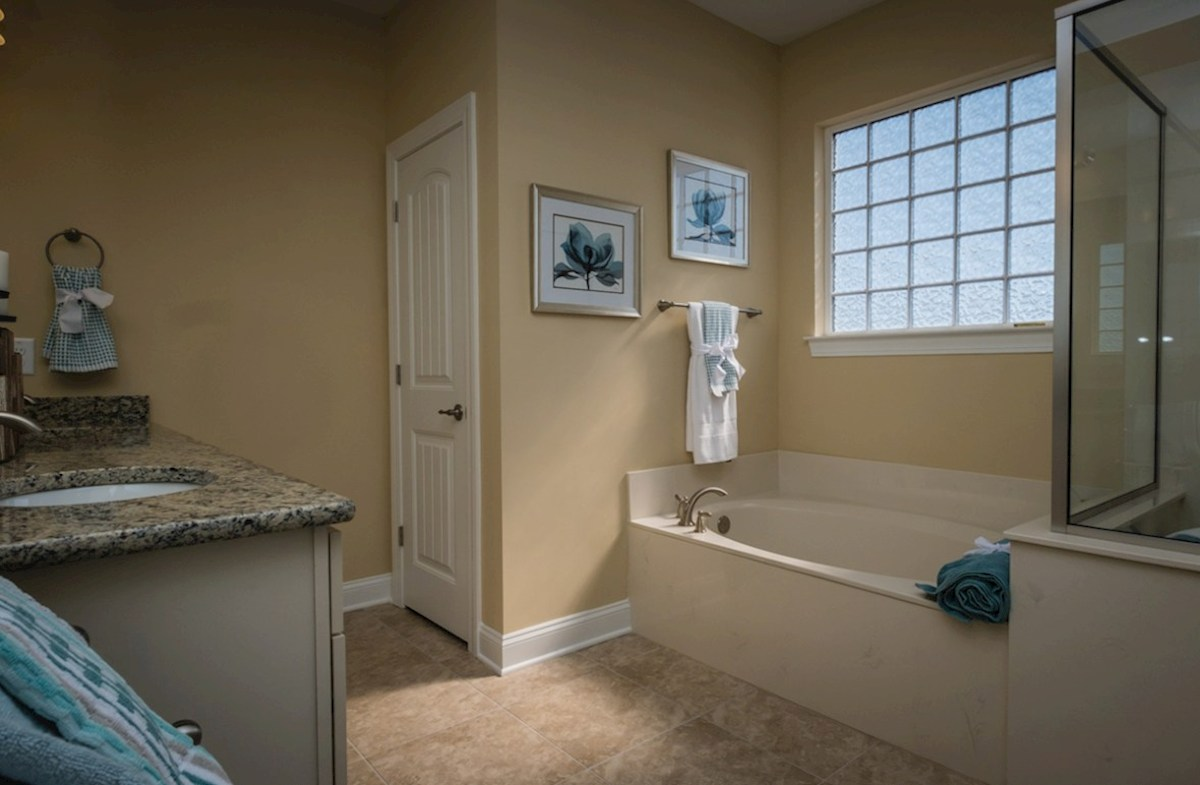 Park Place Savannah bright master bathroom