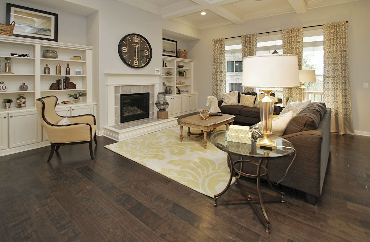 Hampshire Meridian Collection Capitol great room with fireplace surrounded by media cabinets