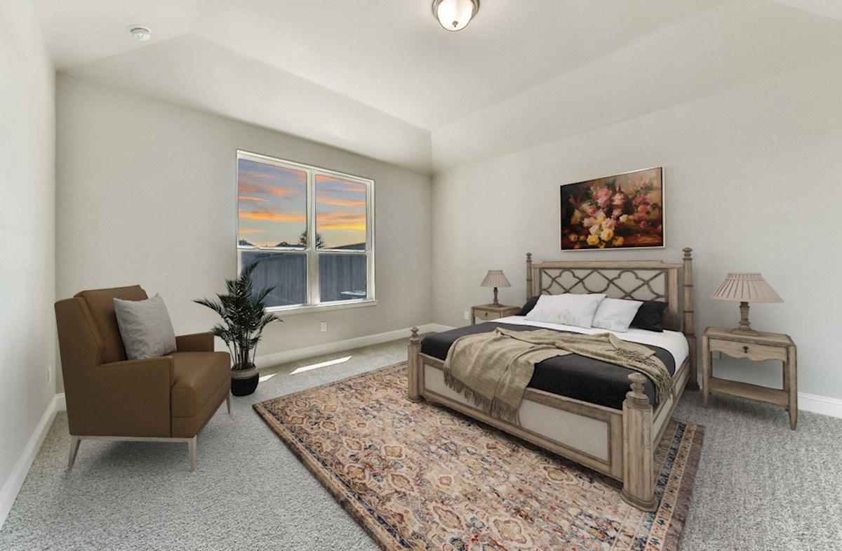 Bridgeland: Harmony Grove Belissimo master bedroom with ceiling fan and carpet flooring