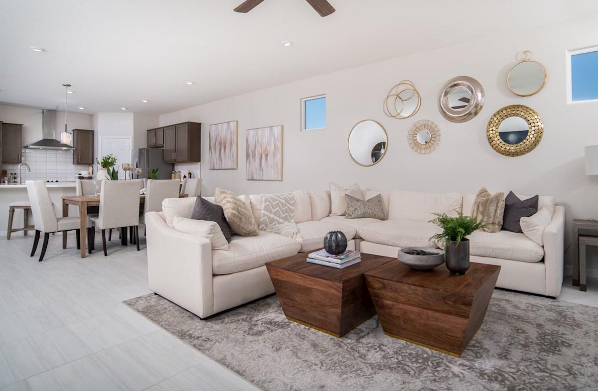 open-concept living area in Everett plan