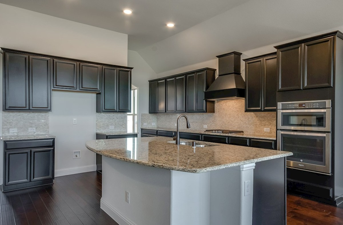 Kerrville quick move-in kitchen island and espresso kitchen cabinets