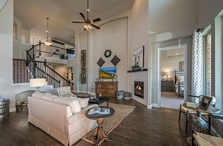 Summerfield great room with two-story ceilings