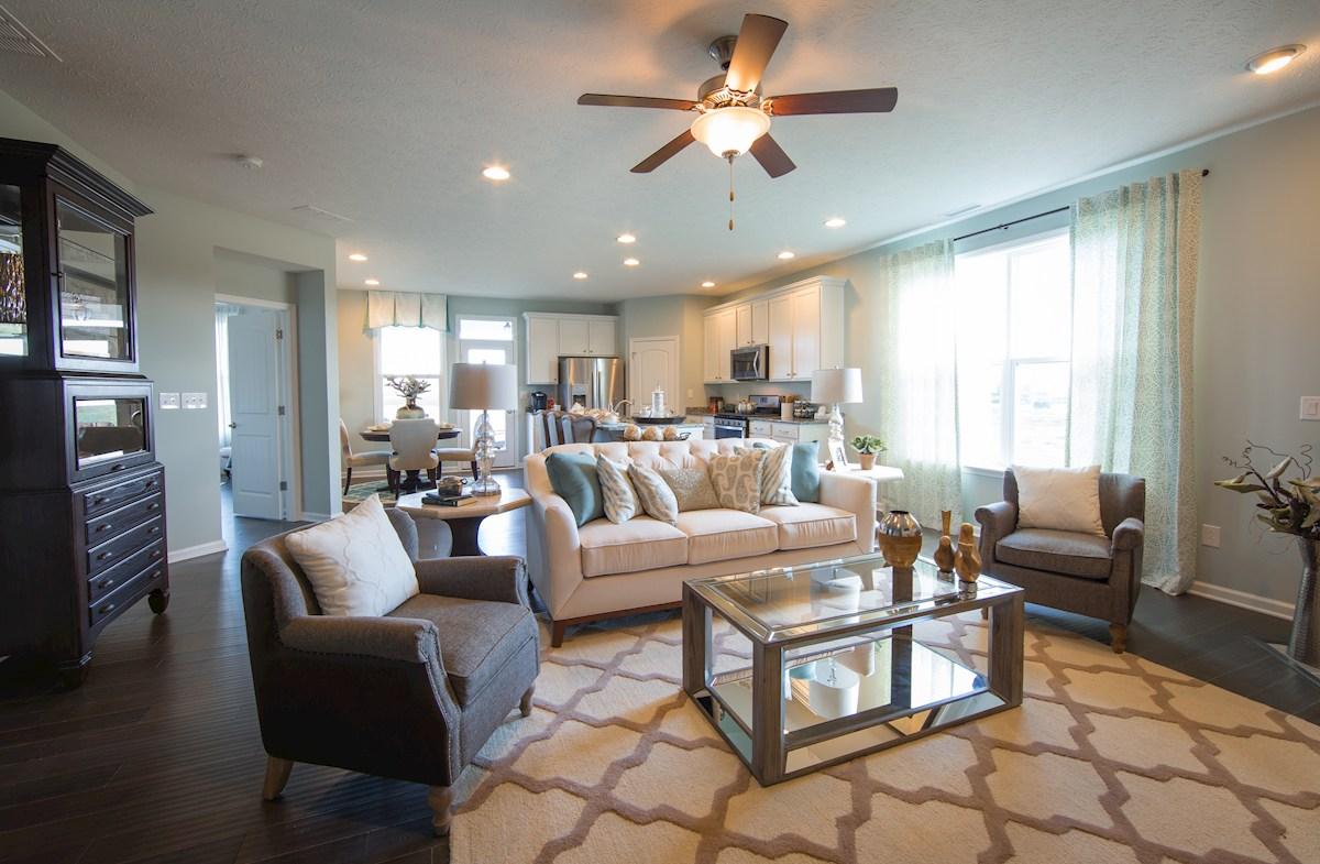 open living room with hardwood floors