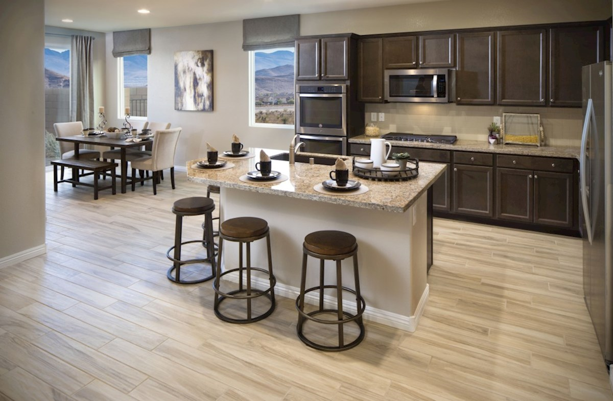 Avila at Mountain's Edge Valencia open concept kitchen with adjacent breakfast area