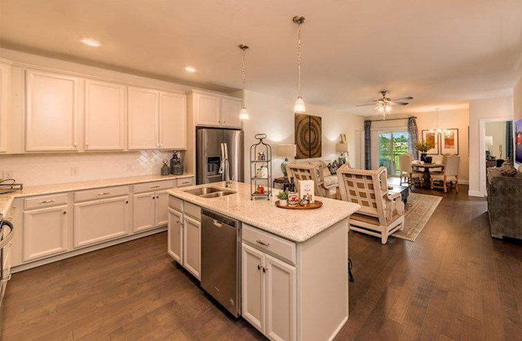 Gatherings® at Westview Clifton kitchen with granite countertops and designer cabinetry