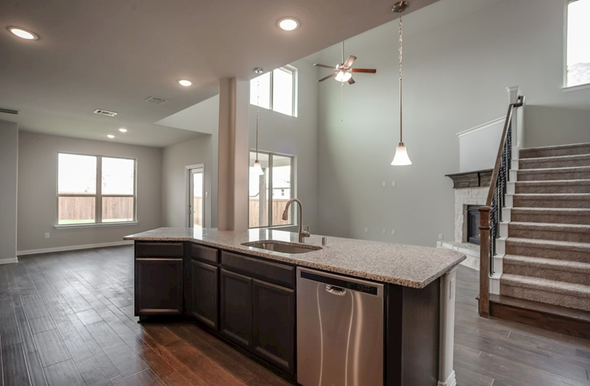 Brookhaven quick move-in kitchen island opens to great room