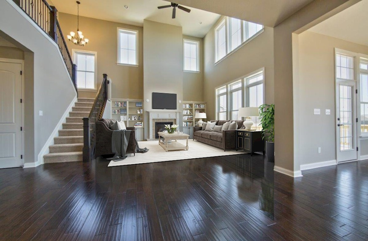 Hampshire Meridian Collection Oakhill two story great room with hardwood floors