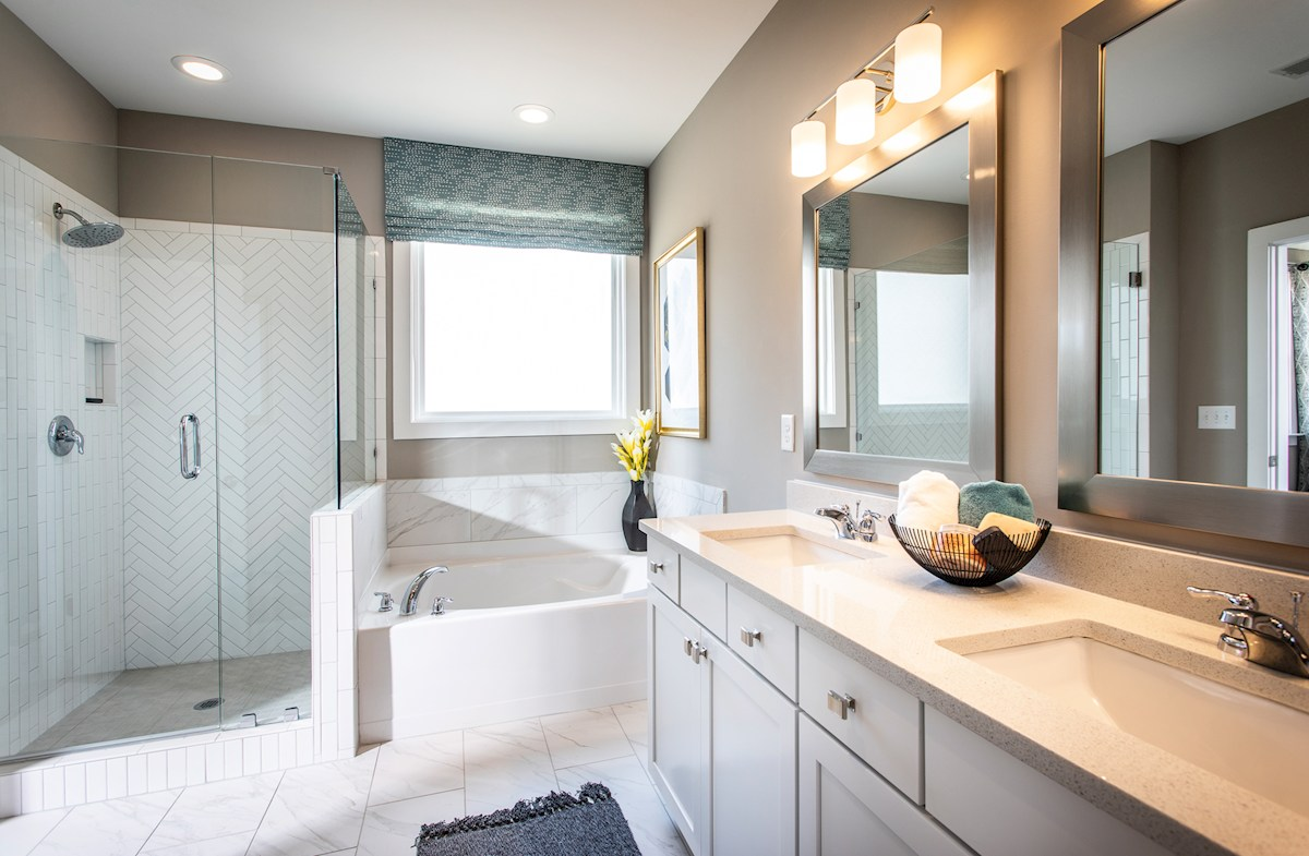 Master bathroom with quartz counters