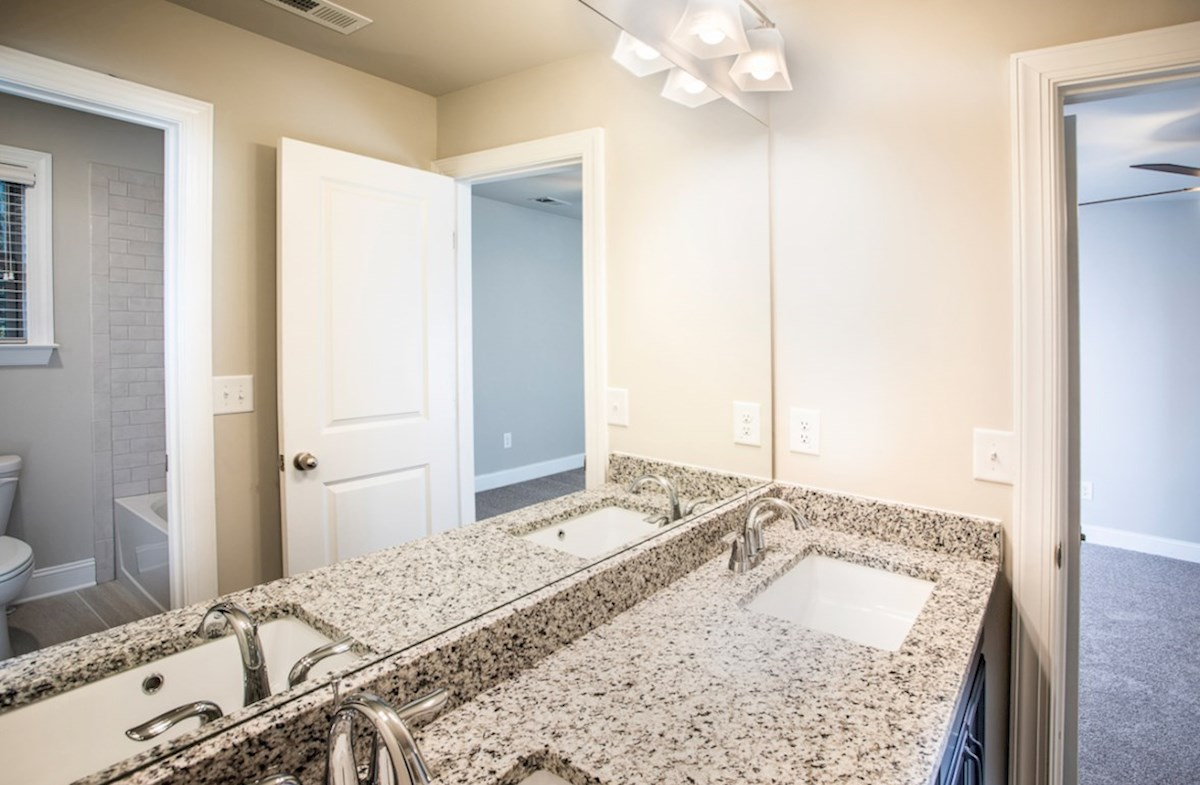 Laurelwood quick move-in Secondary Bathroom with granite countertops