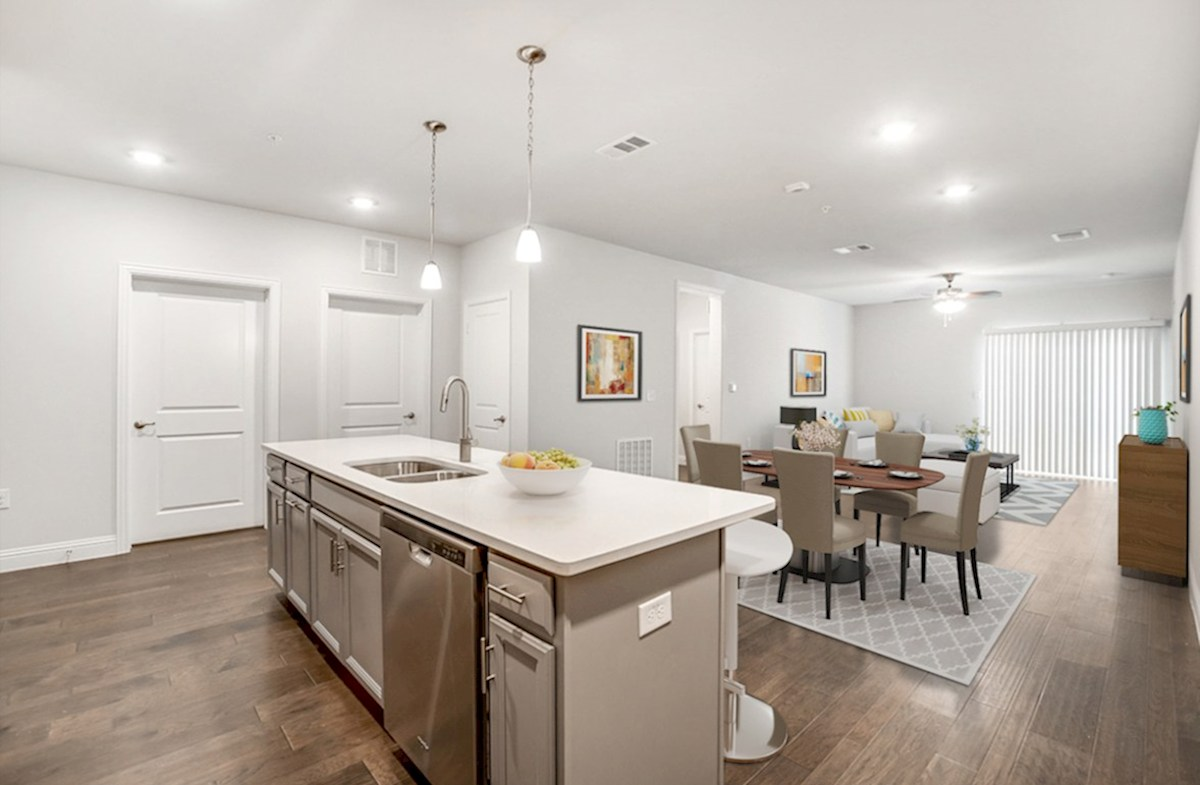 Dorset quick move-in kitchen opens to living area