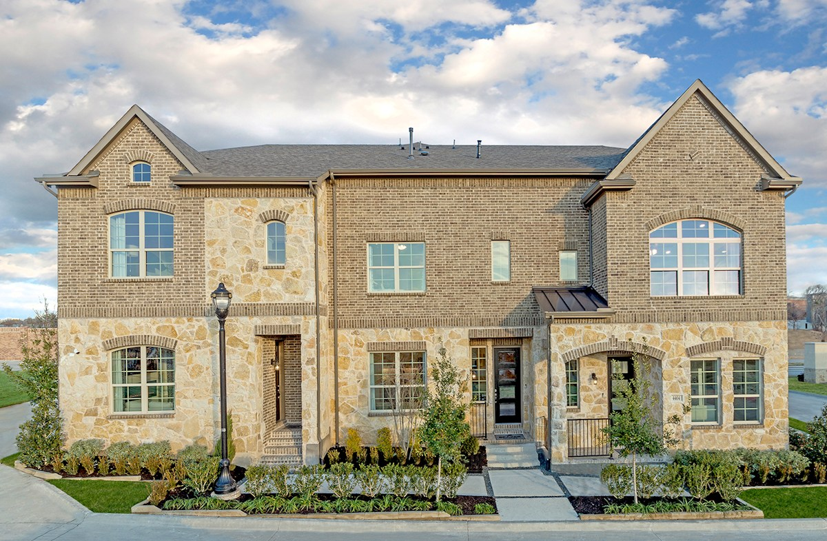 brick and stone townhome exterior