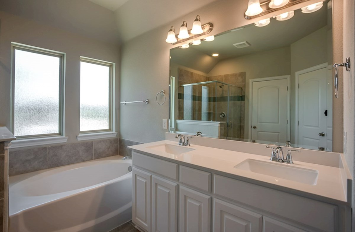 Whitney quick move-in master bath with dual vanities