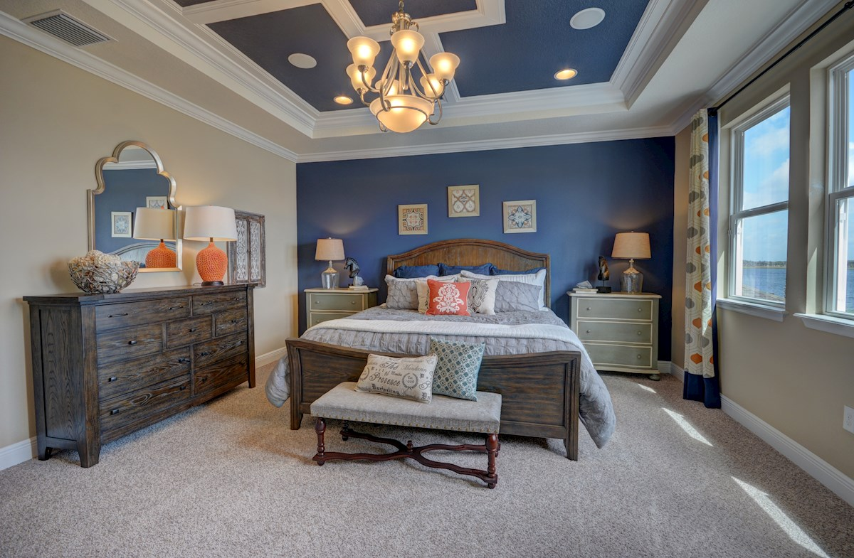 elegant master bedroom with tray ceiling
