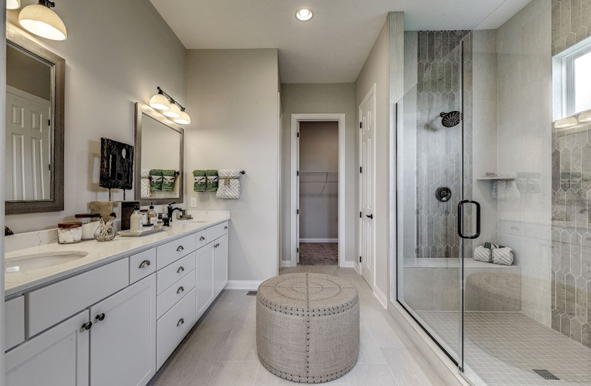 Hampshire Meridian Collection Delaware master bath with walk-in shower and dual sink vanity