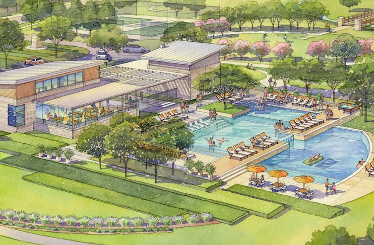 Future recreational center with pool