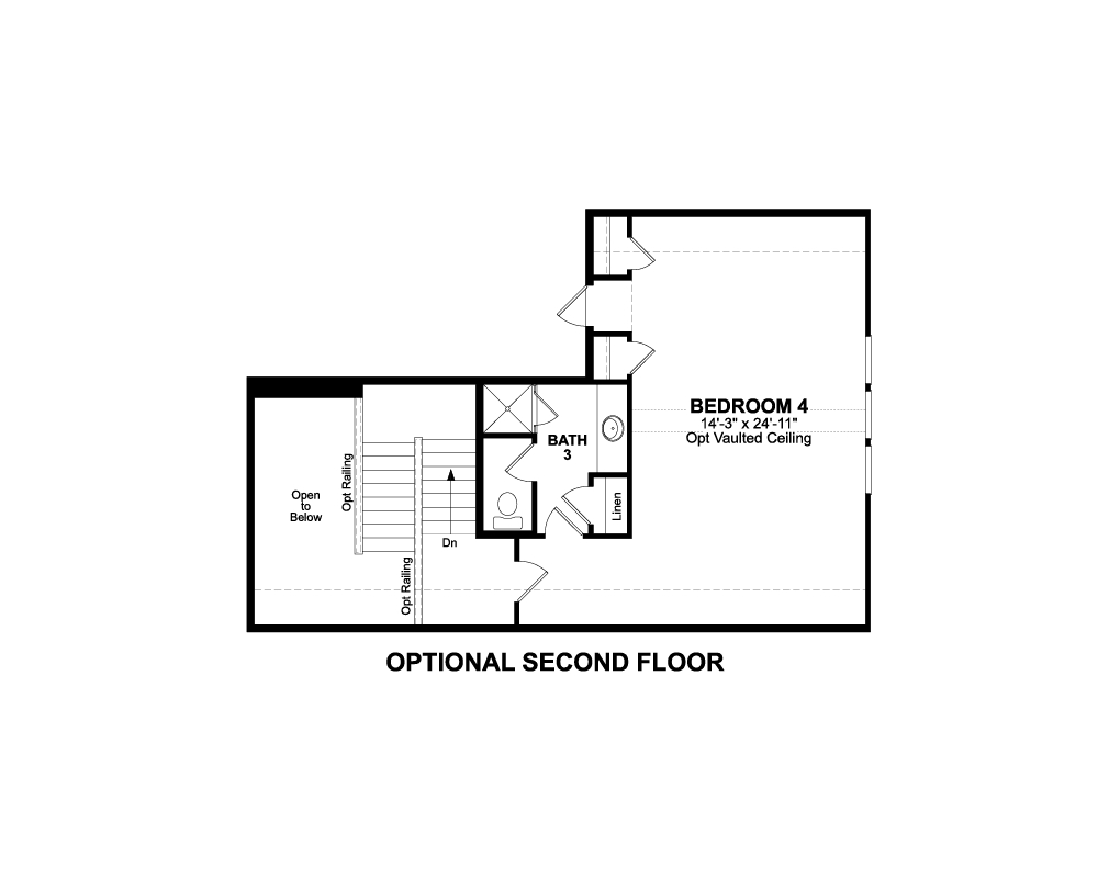 Main floor plan for Optional 2nd Floor