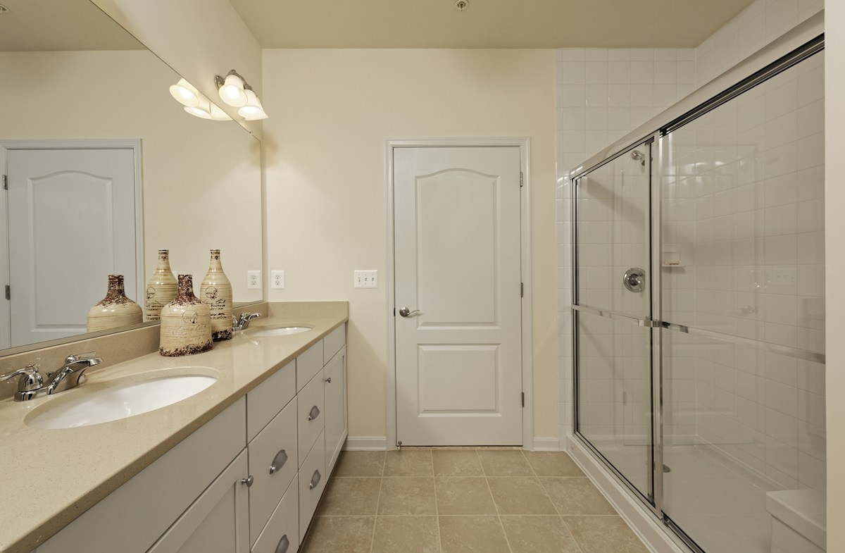 Gatherings® at Quarry Place Aspen Dual vanities in the master bathroom