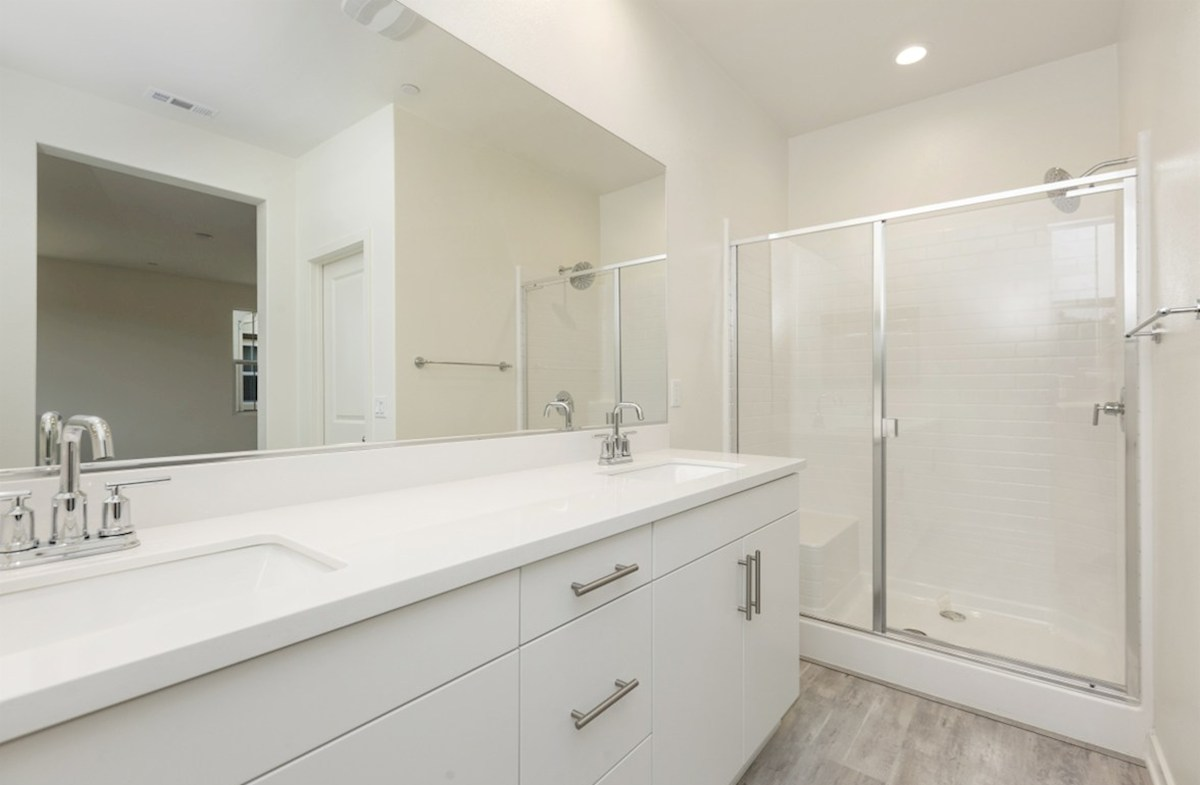 Pinyon quick move-in Spacious walk-in shower in the master bathroom