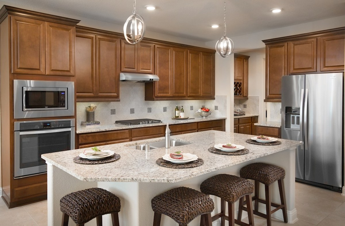 Bonbrook Lakes Fenway kitchen with large island and spacious cabinets