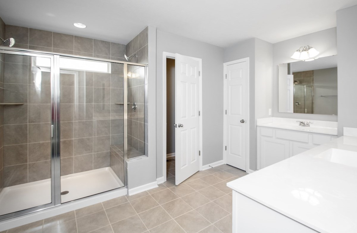 Shelby quick move-in master bathroom with large walk in shower