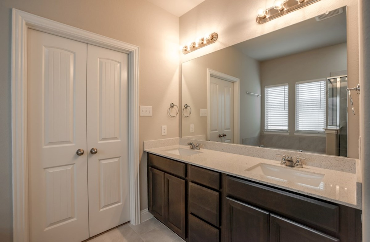 Avalon quick move-in master bath with dual vanities