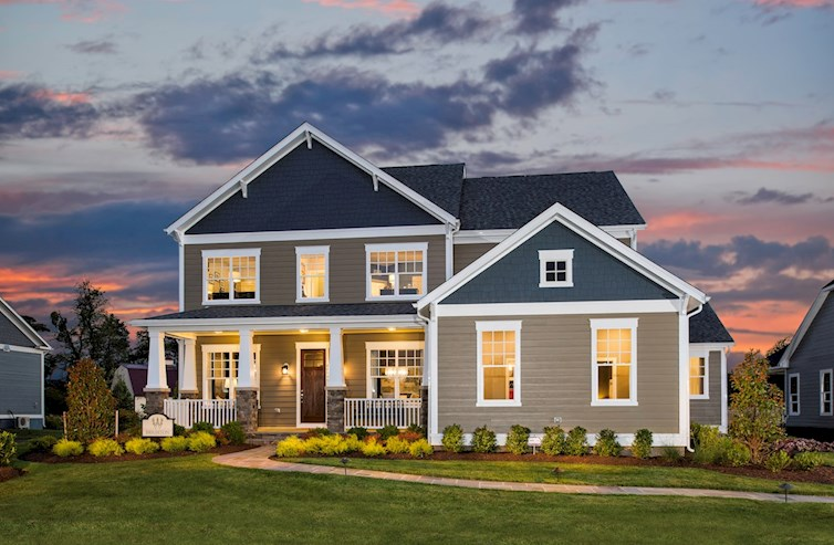 dusk front exterior of single-family home