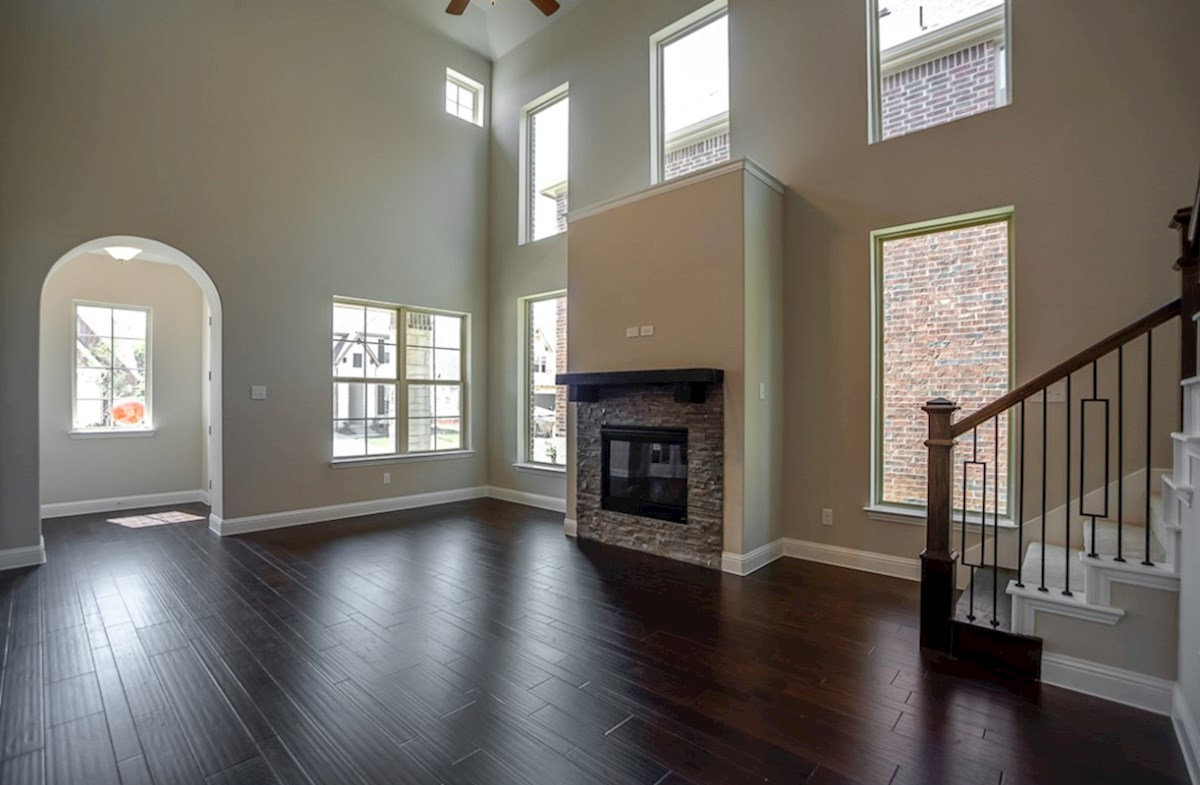 Brazos quick move-in open great room with high windows
