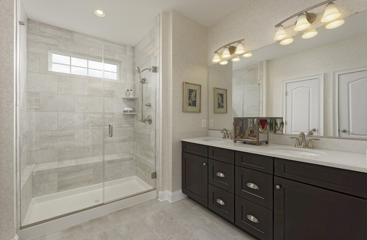 Enclave at River Hill Brookview Dual vanities in the master bathroom