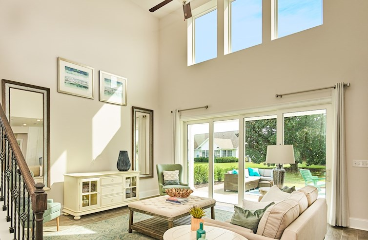 great room features 2nd story ceilings