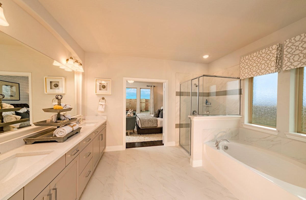 ArrowBrooke Blackburn master bathroom with soaking tub and walk-in shower