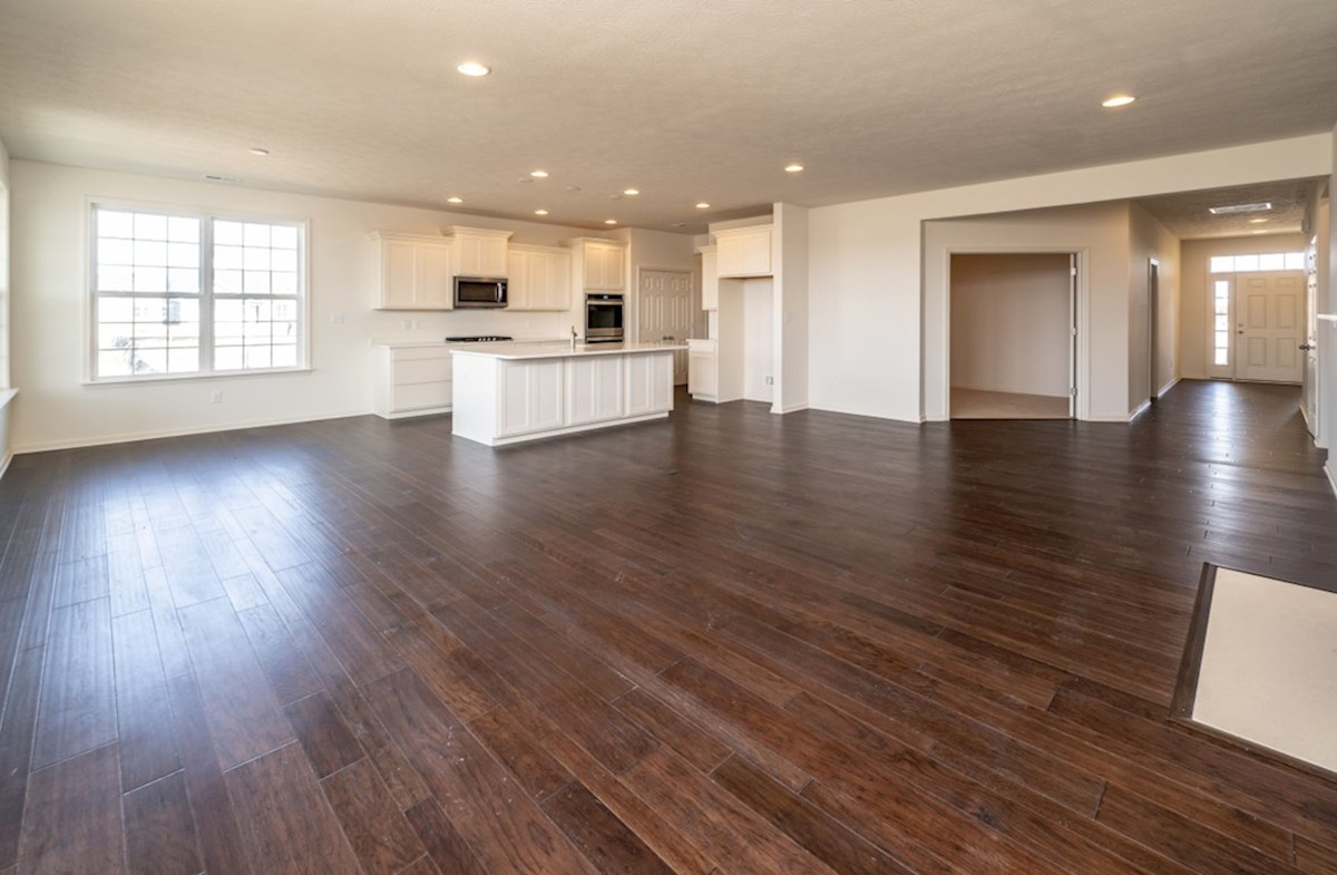 Greenwich quick move-in great room with hardwood floors