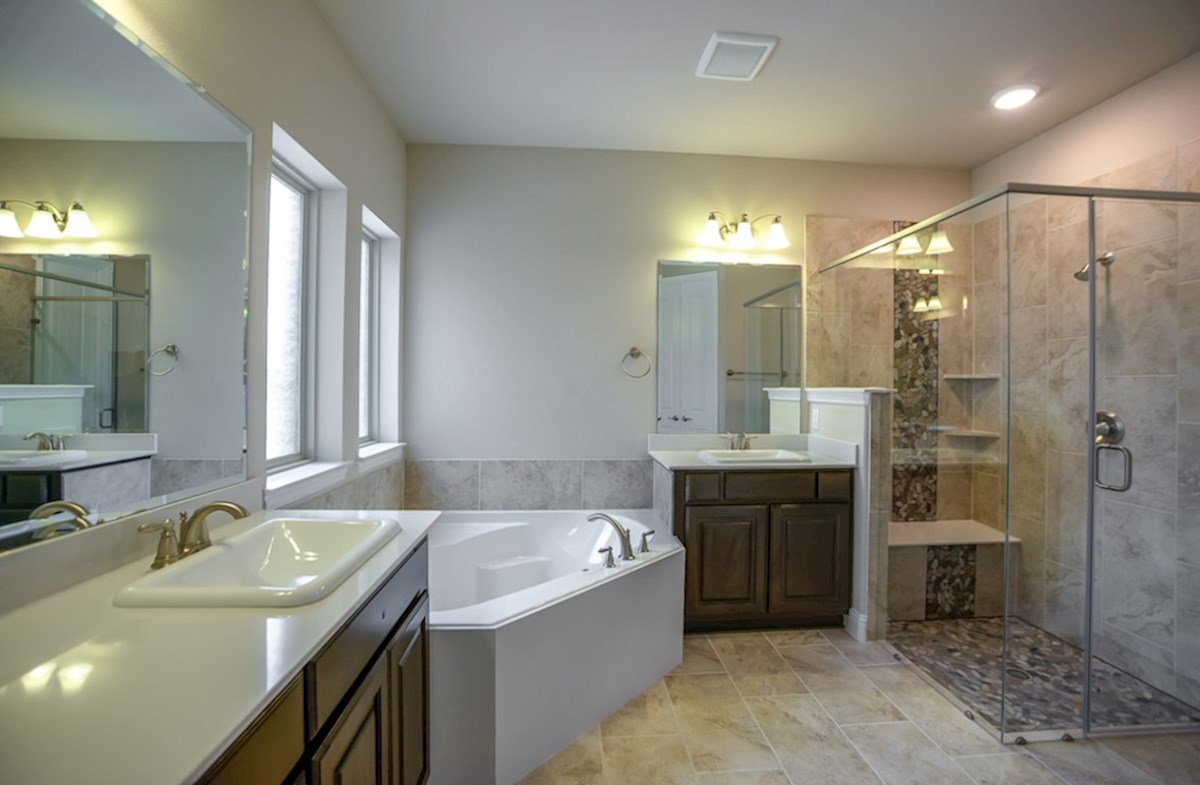 Madison quick move-in master bath with separate tub and shower