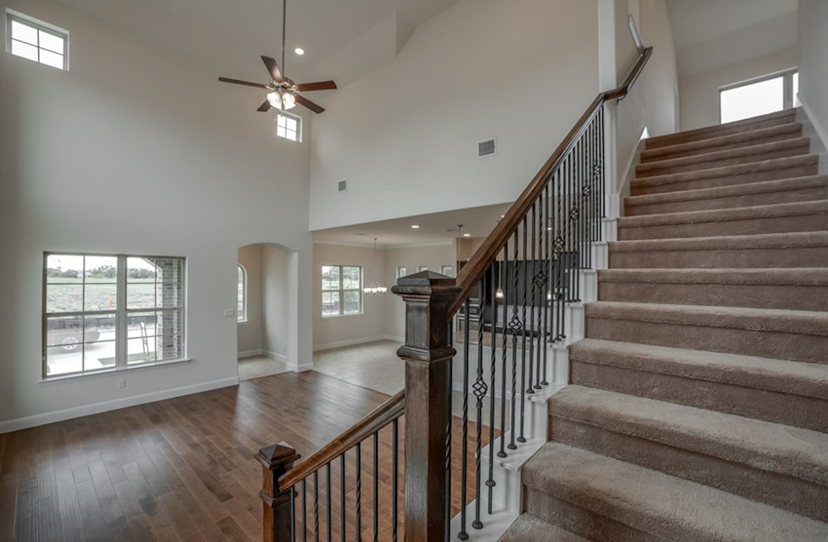 Brazos quick move-in staircase with metal spindles