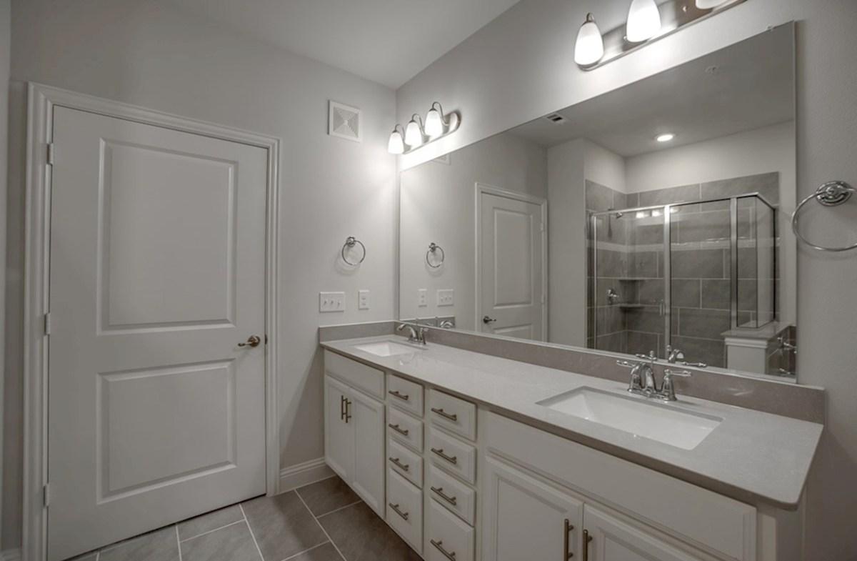 Dorset quick move-in master bath with dual vanities