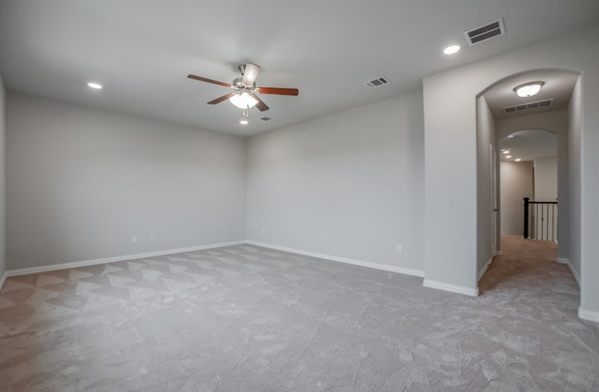 Brighton quick move-in game room with carpet and ceiling fan