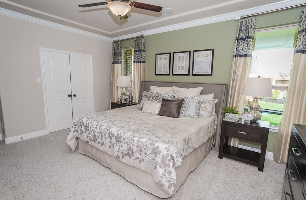 Bridgeland: Parkland Village Capri master bedroom with tray ceiling