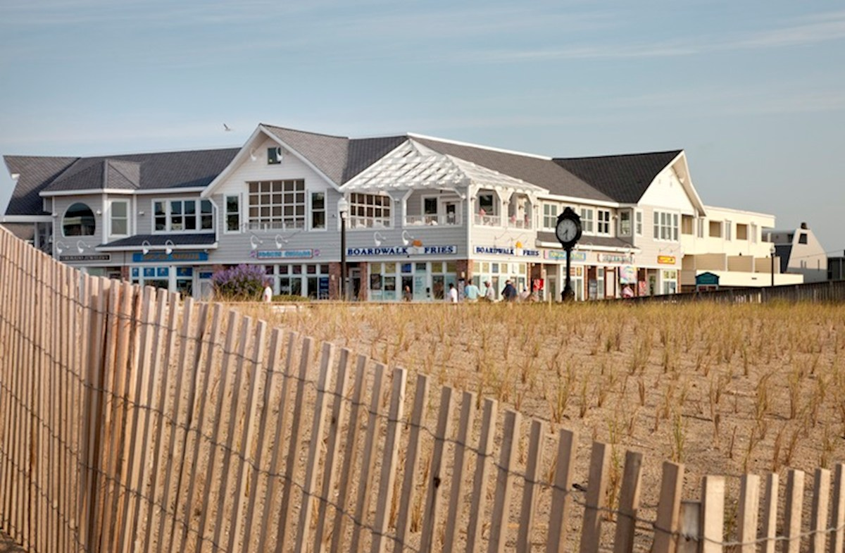 Bethany beach and boardwalk with stores