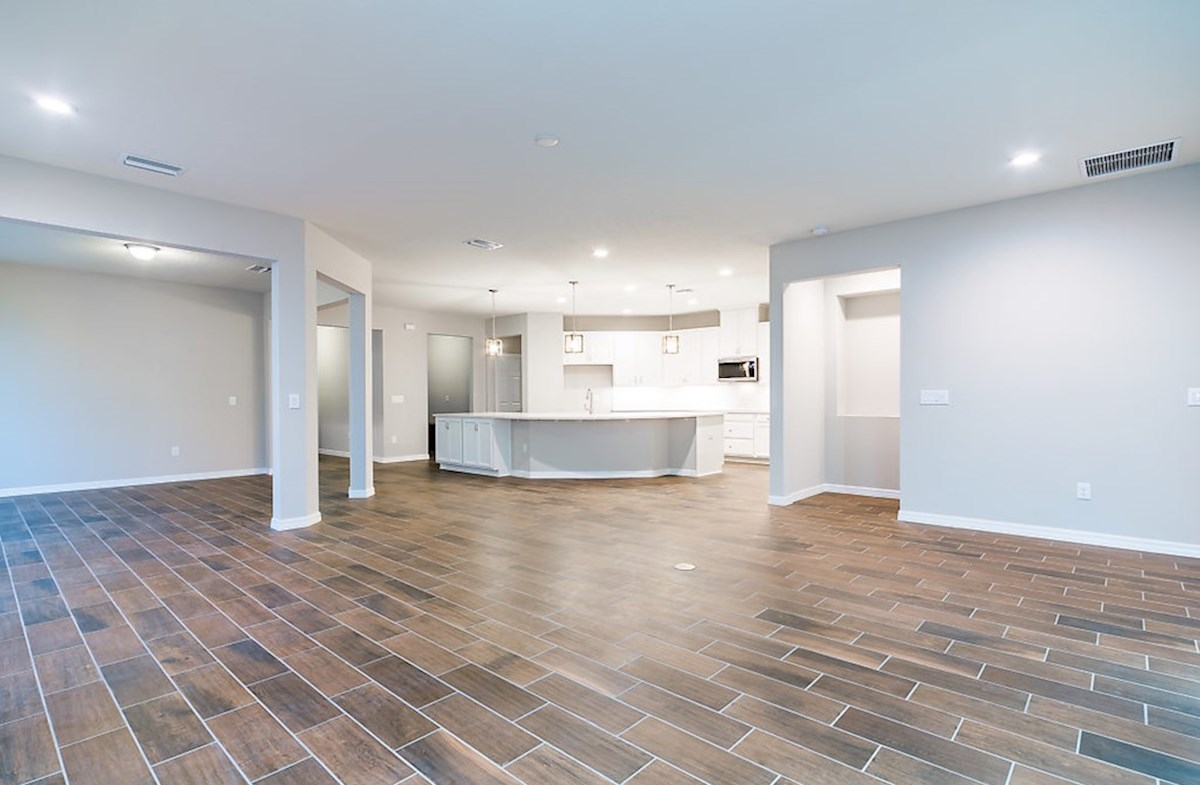 Redwood quick move-in Great room featuring wood-look tile