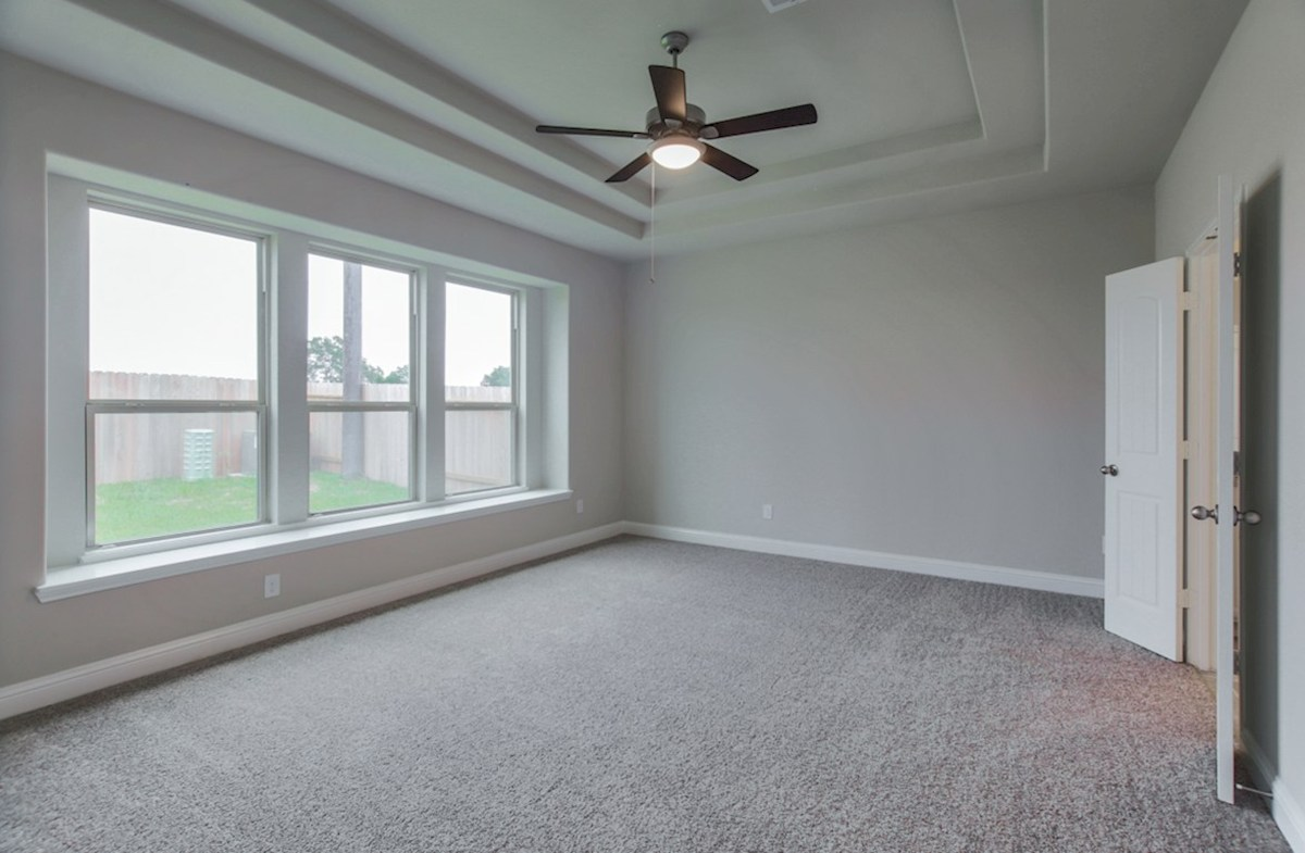 Fredericksburg quick move-in master bedroom with tray ceiling and carpet flooring