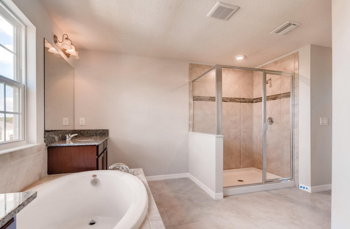 Sequoia quick move-in Master bathroom with glass enclosed walk-in shower