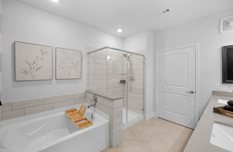 Dorset primary bathroom with separate garden tub and shower