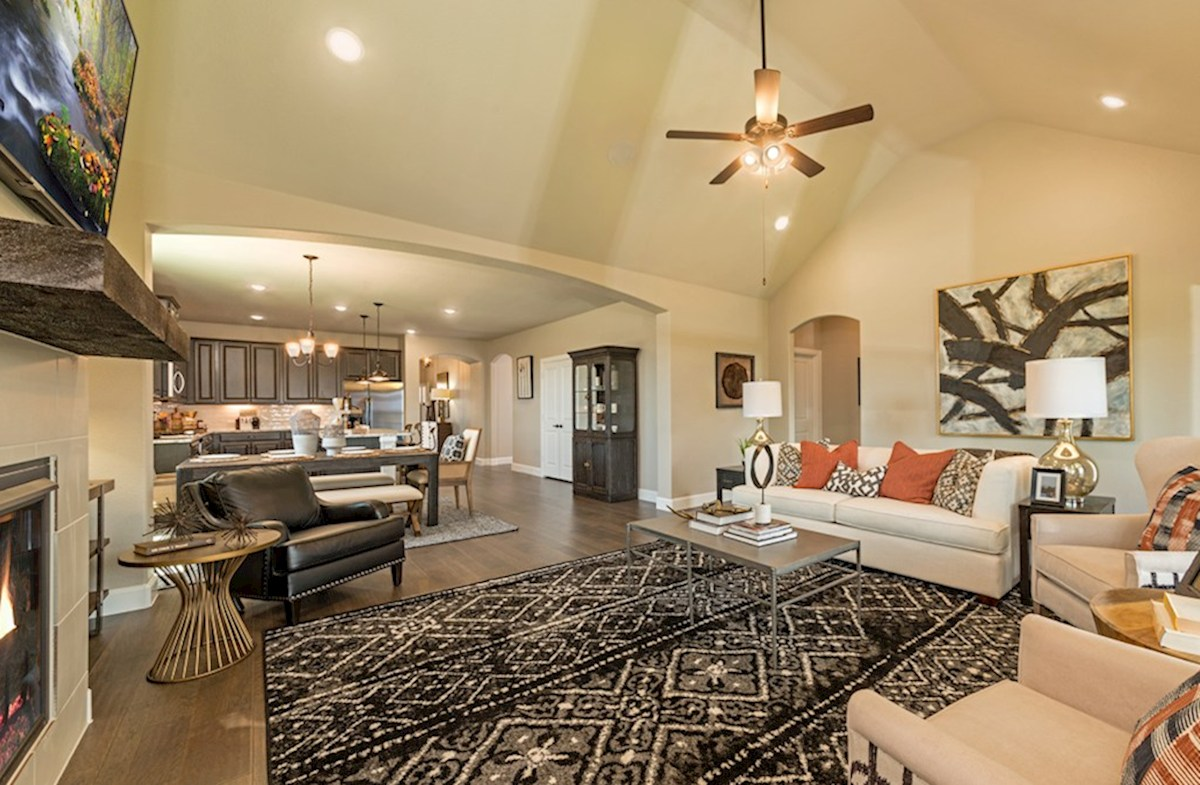 Hickory Creek Crossing Laredo great room opens to kitchen