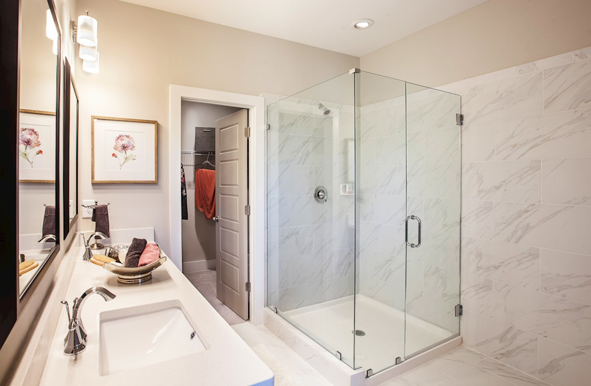 Towns at North Peachtree Camden spa-inspired master bath