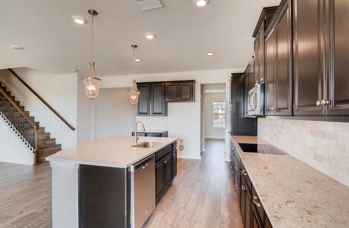 Sequoia quick move-in Kitchen with center island and pendant lighting