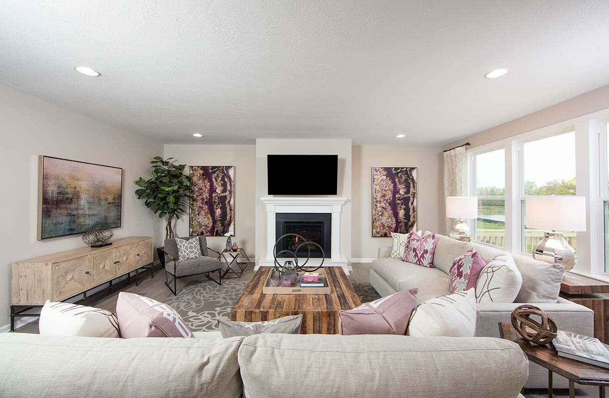 Summerland Park Shelby great room with cozy fireplace