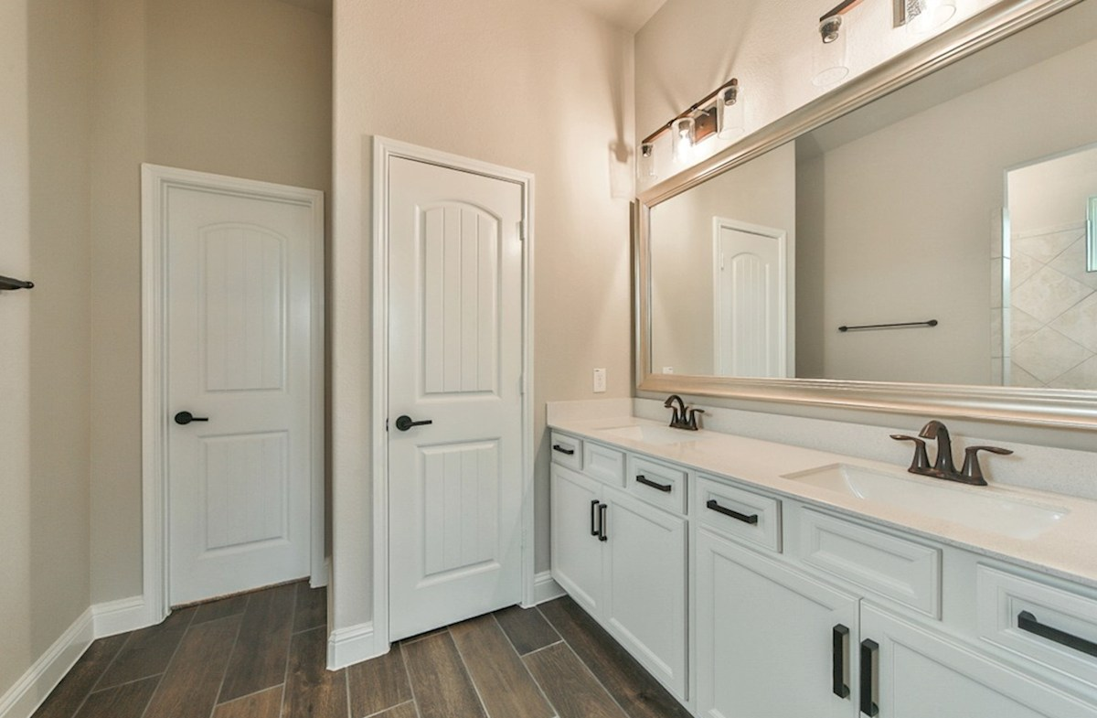 Serendipity quick move-in master bathroom with double sinks
