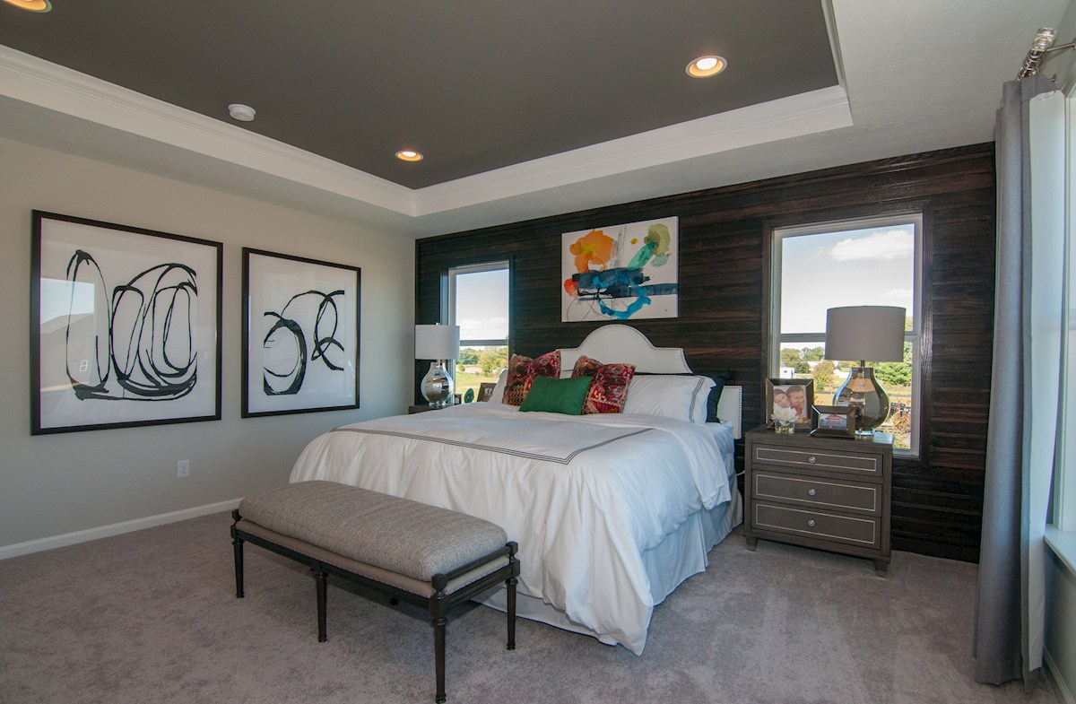 Porter master bedroom with trey ceiling
