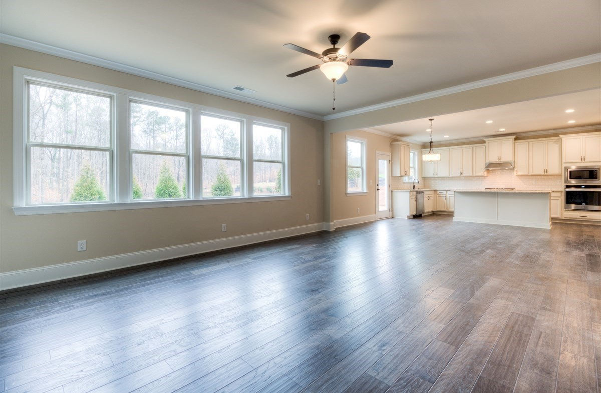 Stockton quick move-in Family Room with hardwood floors