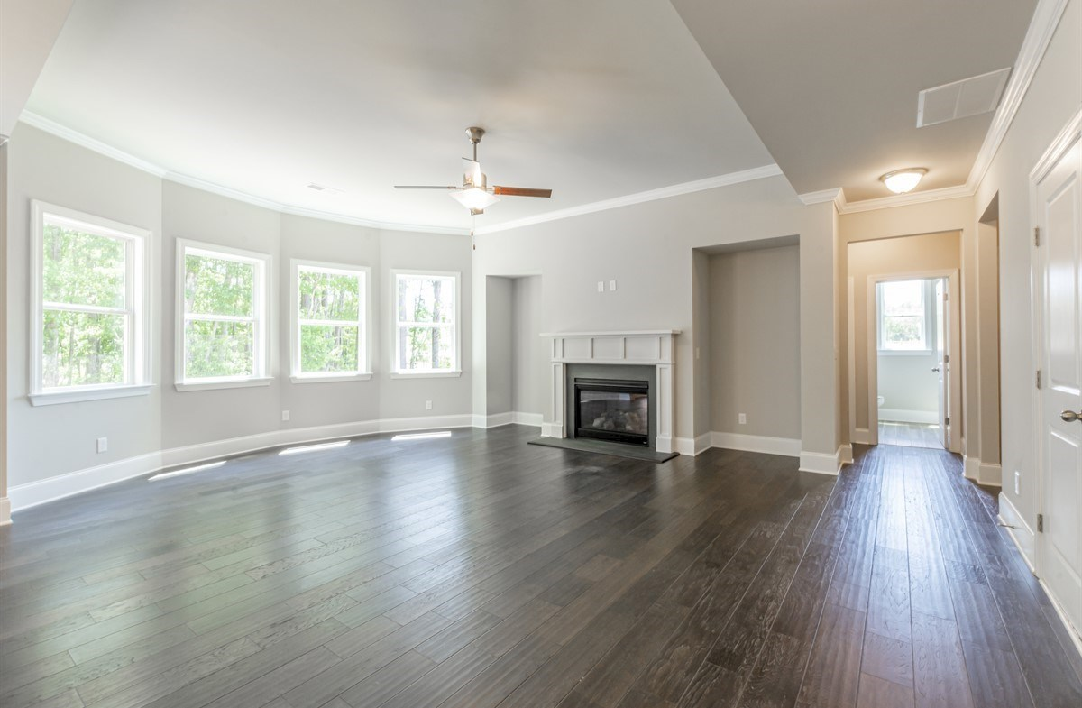 Laurelwood quick move-in Family Room with fireplace