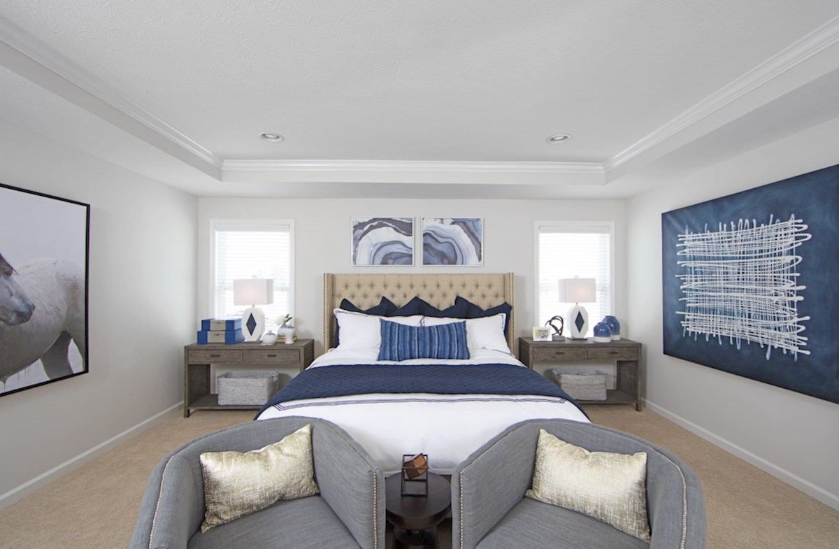 Heritage Trace Jefferson master bedroom with trey ceiling